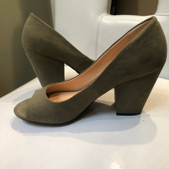 Cato Shoes | Olive Green Peep Toe Heels